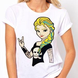 Princess Elsa Frozen Punk tattoos Women's T-shirt